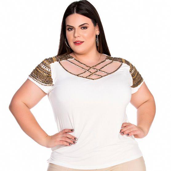 T-Shirt Frente em Pedrarias Plus Size P