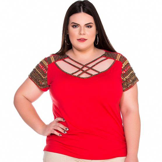 T-Shirt Frente em Pedrarias Plus Size M