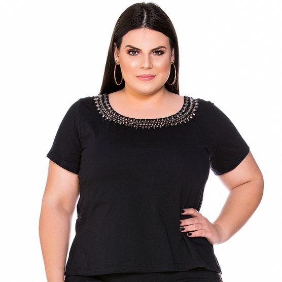 T-Shirt Gola Bordada e Trançado Nas Costas Plus Size M