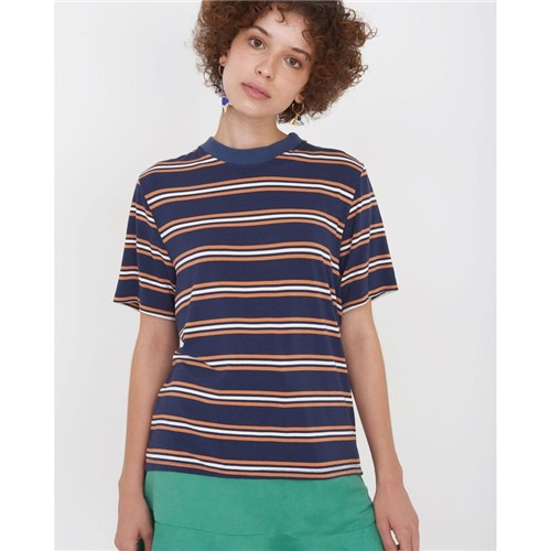 T-Shirt Listrada Listrado Azul M