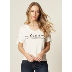 T-Shirt Malha Estampa Love Today Off White - P