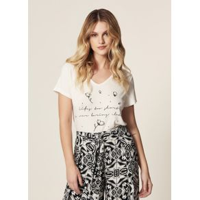 T-Shirt Malha Silk Flores Off White - G
