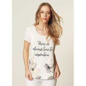 T-SHIRT MALHA SILK FLORES Off White - M
