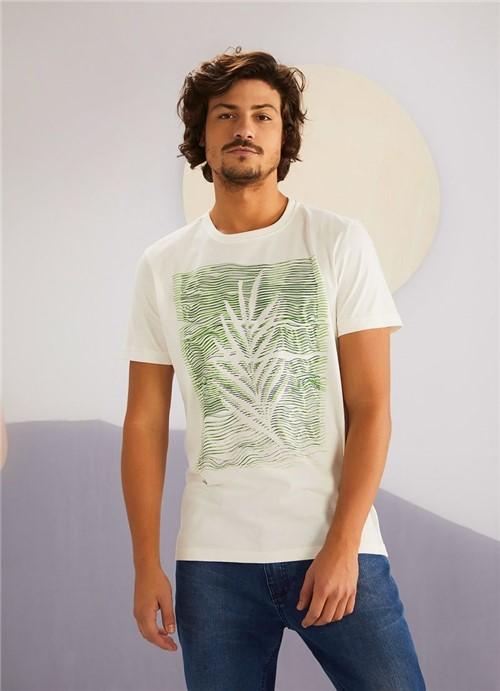 T-shirt Manga Curta Silk Folha Dupla BRANCO G