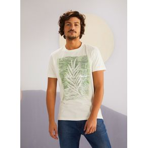 T-shirt Manga Curta Silk Folha Dupla BRANCO P