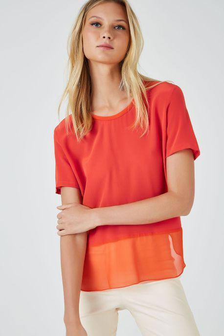 T-Shirt Mix Tecido Coral Pimenta - 38