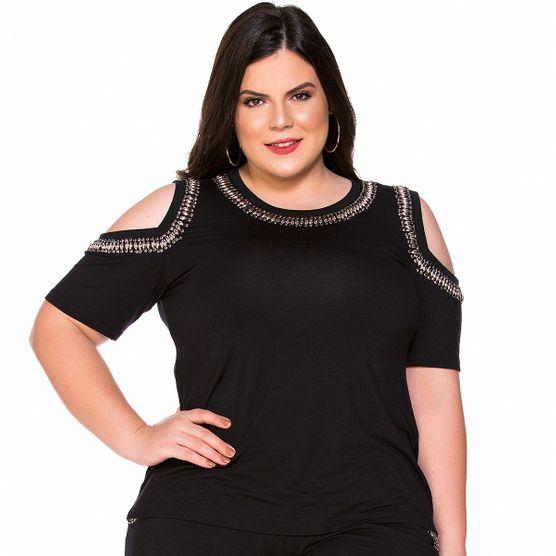 T-shirt Ombros Vazados Bordados Plus Size P