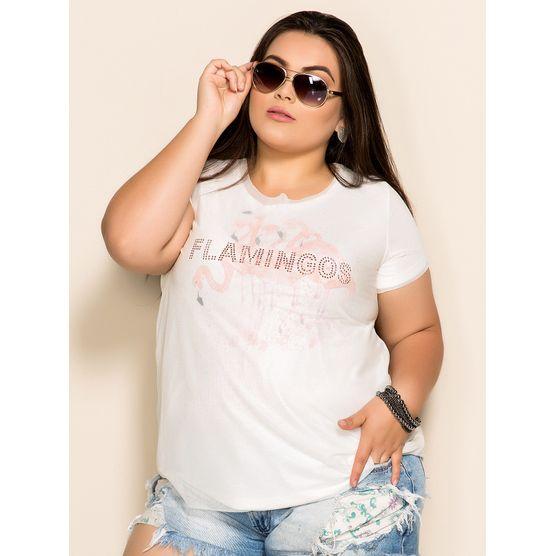T-Shirt Plus Size Flamingos P