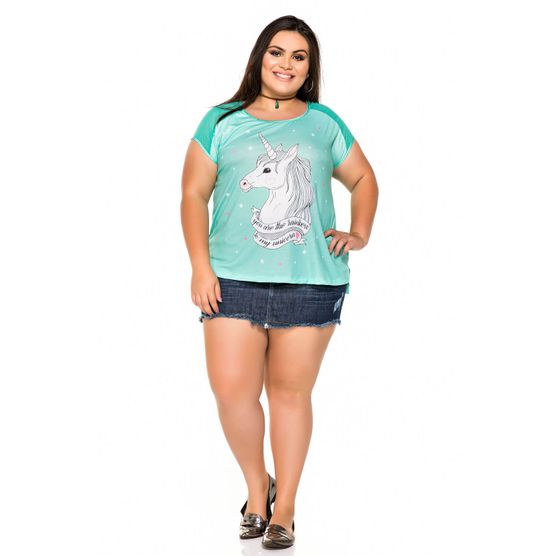 T-Shirt Plus Size Unicórnio com Chifon Metalizado P