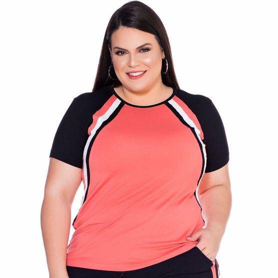 T-Shirt Recorte Tricolor Plus Size T-Shirt Recorte Tricolo Plus Size PP