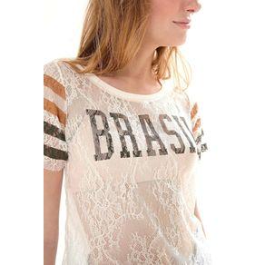 T Shirt Renda Brasil Off White - G