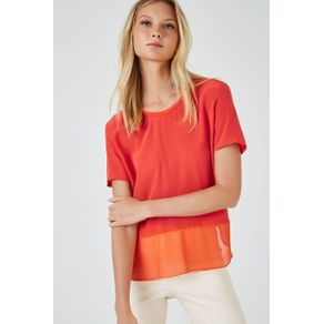 T-Shirt Seda Mix Tecido Coral Pimenta - 42