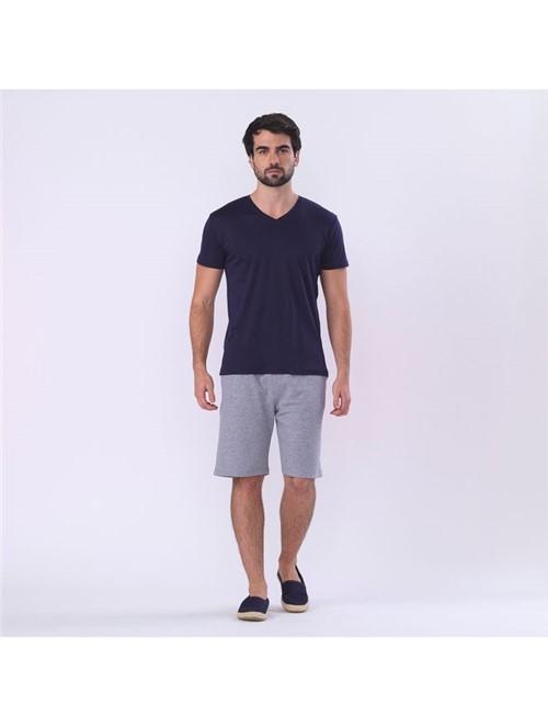 T-shirt Skin Decote V - Azul Noturno - P