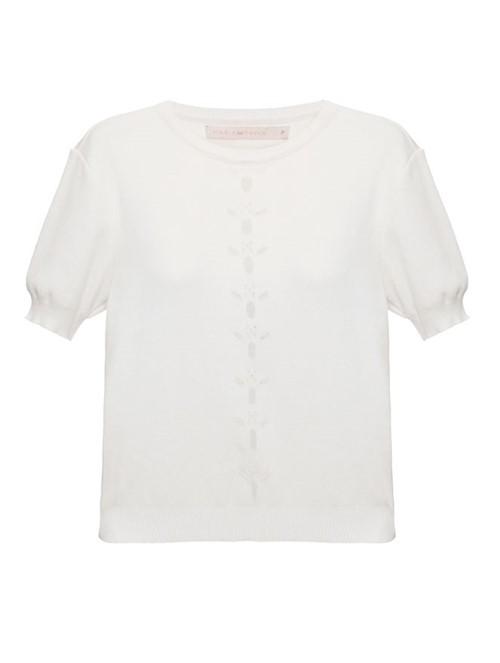 T-Shirt Tricô Flor Off White Tamanho P