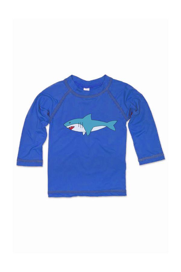 T-shirt UV Manga Longa Tubarão 0 a 2 Anos - Bb Básico G - AZUL ROYAL