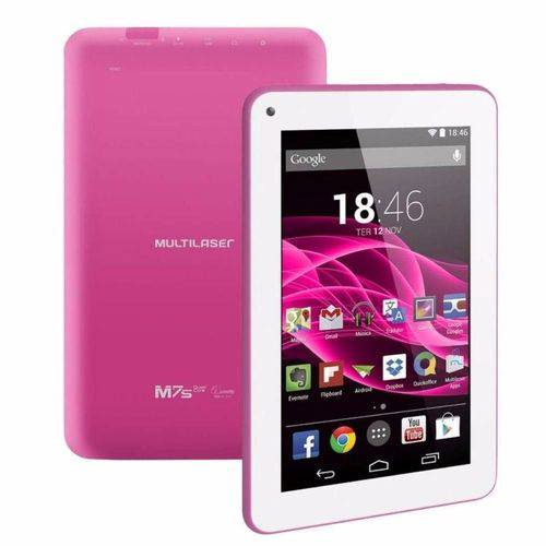 "Tablet Multilaser M7s Rosa Quad Core Android 4.4 Wi-fi Tela 7"" 8gb - Nb186"