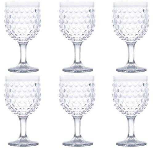 Taça Água Bubble Vidro Transparente 360ML 6 Peças - 31222