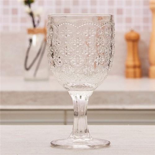 Taça de Vinho Trabalhada Flor 280ml Havan Transparente Transparente