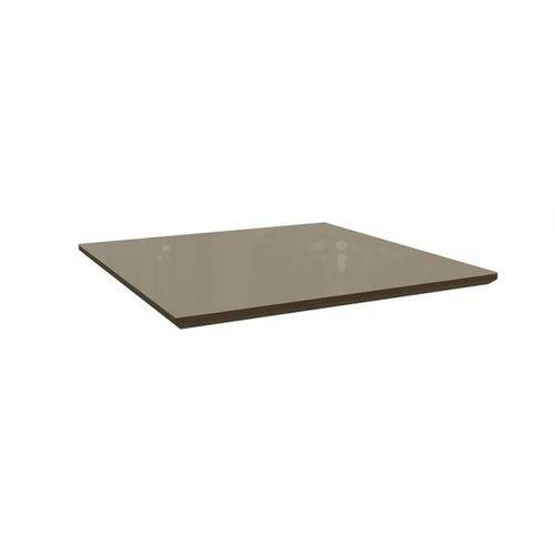 Tampo de Mesa Kappesberg Estar TA12 Madeirado 105x105x4cm - - Walnut Fosco C/ Vidro Bronze