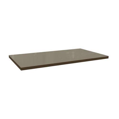 Tampo de Mesa Kappesberg Estar TA17 Madeirado 160x90x4cm - - Walnut Fosco C/ Vidro Bronze