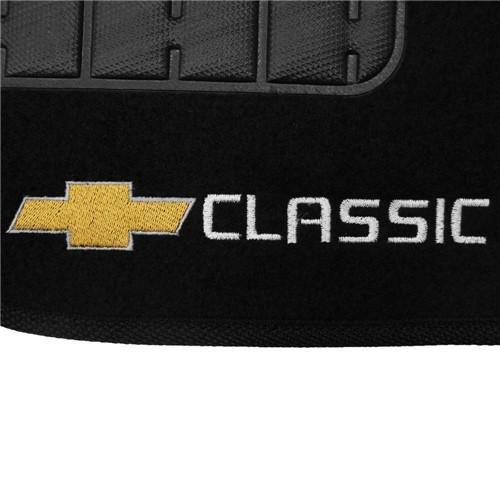 Tapete Carpete Corsa Classic Preto 2003 2004 2005 2006 2007 2008 2009 2010 2011 2012 2013 Logo Borda