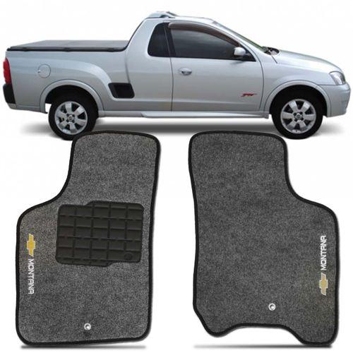 Tapete Carpete Montana Grafite 2003 2004 2005 2006 2007 2008 2009 2010 Logo Bordado Chevrolet 2 Lados Dianteiro