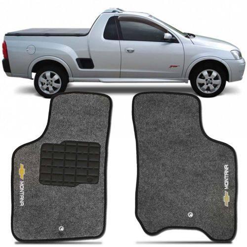Tapete Carpete Montana Grafite 2003 à 2010 Logo Bordado Chevrolet 2 Lados Dianteiro