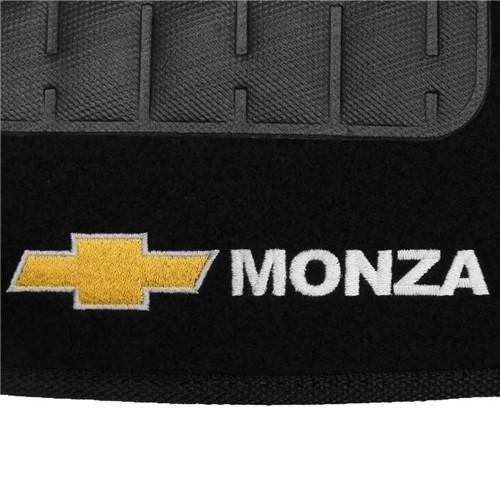Tapete Carpete Monza Tubarão Preto 91 92 93 94 95 96 Logo Bordado 2 Lados Dianteiro