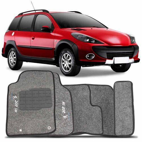 Tapete Carpete Personalizado Grafite 207 Sw 2009 a 2013 Logo Peugeot 2 Lados Dianteiro