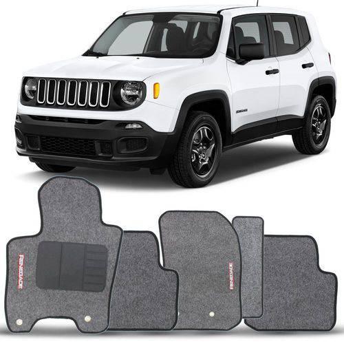 Tapete Carpete Personalizado Grafite Jeep Renegade 2015 2016 2017 2018 Bordado 2 Lados Dianteiro