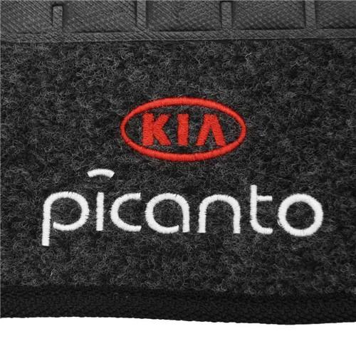 Tapete Carpete Picanto Grafite 2006 2007 2008 2009 2010 2011 Logo Bordado 2 Lados Dianteiro