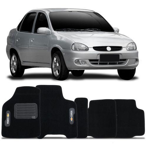 Tapete Carpete Preto Corsa Classic 2003 a 2013 Logo Chevrolet Bordado 2 Lados Dianteiro