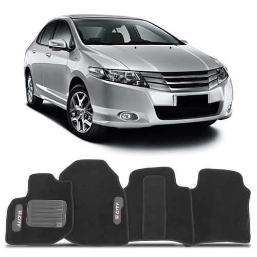 Tapete Carpete Preto Volkswagen Honda City 2009 a 2014 Vulcanizado