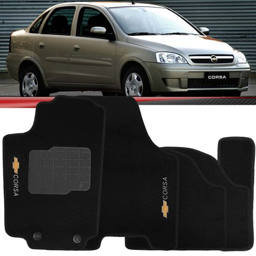 Tapete Carpete Preto Corsa 2003 a 2012 Logo Chevrolet Bordado 2 Lados Dianteiro