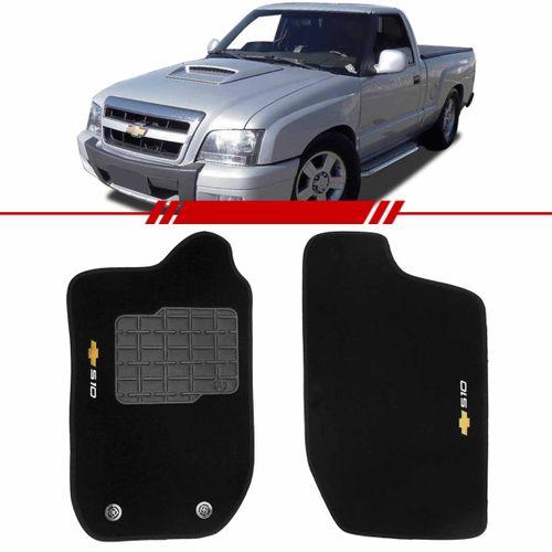 Tapete Carpete S10 Preto 1996 a 2012 Logo Bordado 2 Lados Dianteiro Cabine Simples