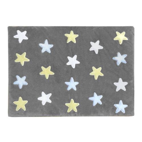 Tapete de Pelúcia Estrelas Cinza e Azul (1,20 X 0,90m)
