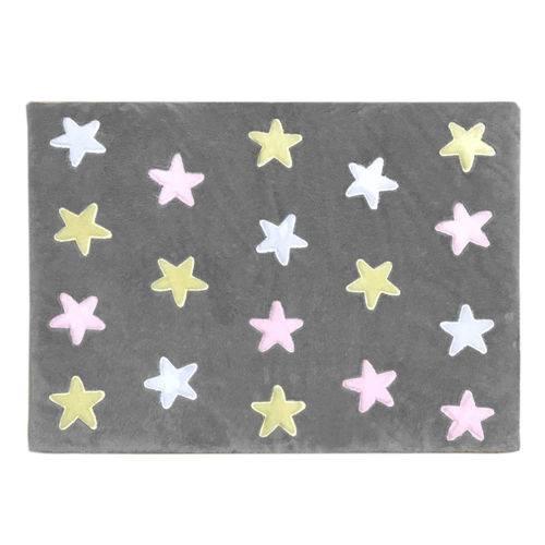 Tapete de Pelúcia Estrelas Cinza e Rosa (1,60 X 1,20m)