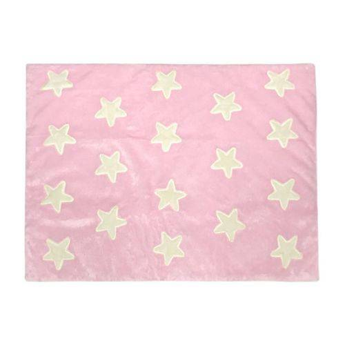 Tapete de Pelúcia Estrelas Rosa e Palha (1,60 X 1,20m)