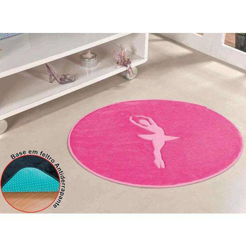Tapete Infantil Pelúcia Bailarina Premium Antiderrapante - Pink