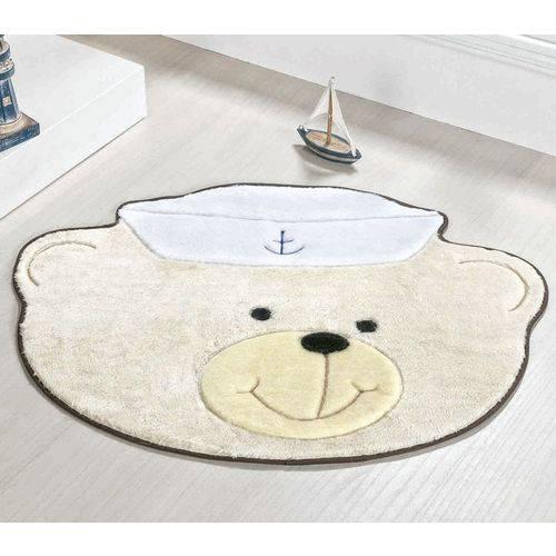 Tapete Infantil Pelúcia Quarto de Bebê Urso Marinheiro - Palha
