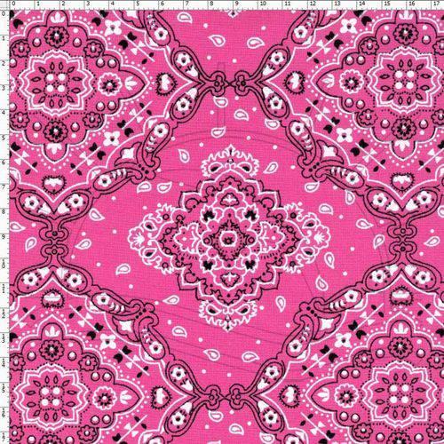 Tecido Estampado para Patchwork - 30187 Bandana Rosa Cor 04 (0,50x1,40)