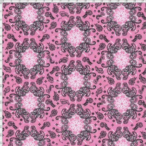 Tecido Estampado para Patchwork - Bandana Rosa Cor 12 (0,50x1,40)