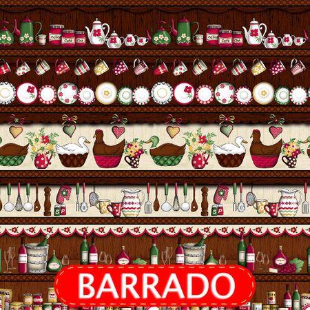 Tecido Estampado para Patchwork - Barrado Cozinha Patos Cor 2113 (0,50x1,40)