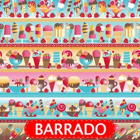 Tecido Estampado para Patchwork - Barrado Sorvete Cor 2107 (0,50x1,40)