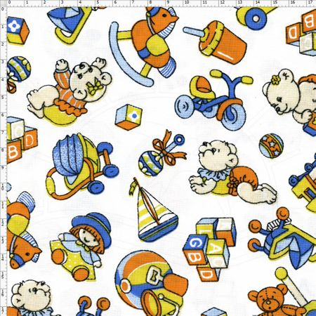 Tecido Estampado para Patchwork - Brinque Cor 01 (0,50x1,40)