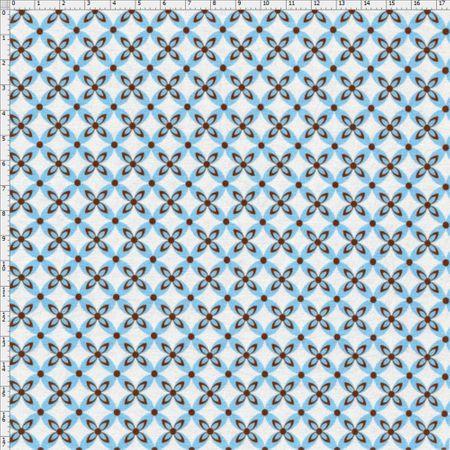 Tecido Estampado para Patchwork - Casa Belém Corujices Círculos com Flor (0,50x1,40)