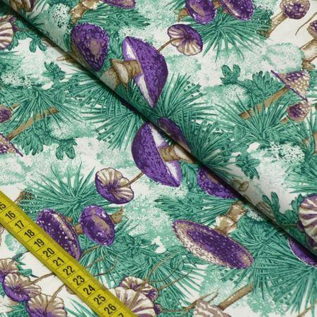 Tecido Estampado para Patchwork - Cogumelos Cor 01 (0,50x1,40)