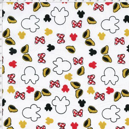Tecido Estampado para Patchwork - Coleção Disney Guarda Roupa Minnie Fundo Amarelo (0,50x1,50)