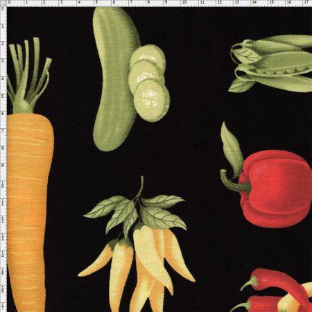 Tecido Estampado para Patchwork - Coleção Empório das Frutas e Legumes: Legumes Big (0,50x1,40)