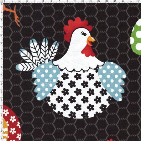 Tecido Estampado para Patchwork - Coleção Fazenda: Galinha (0,50x1,40)